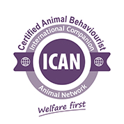 Certification logo: Certified Animal Behaviourist - ICAN Logo CAB Badge