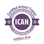 Certification logo: Certified Animal Trainer - ICAN Logo-C-A-T Badge