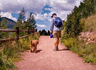 Man walking dog on trail