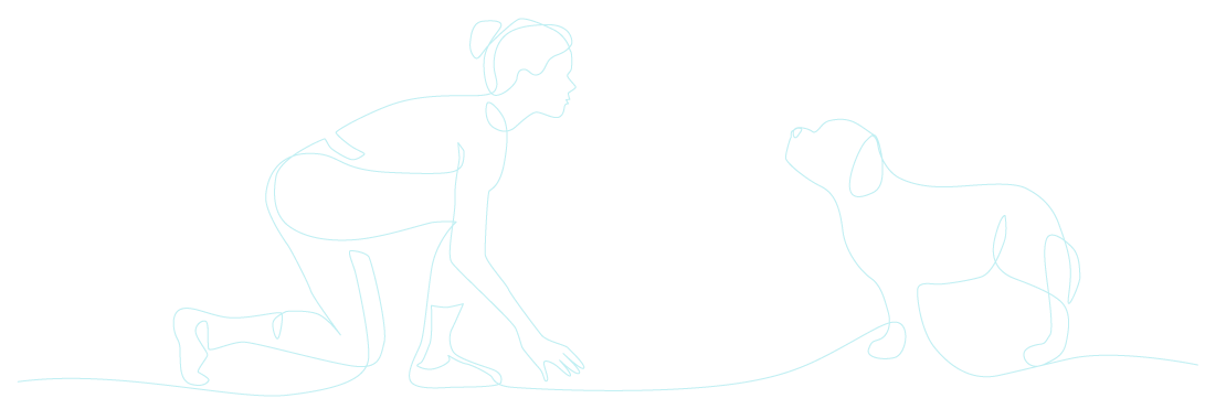 Woman in starting position with dog